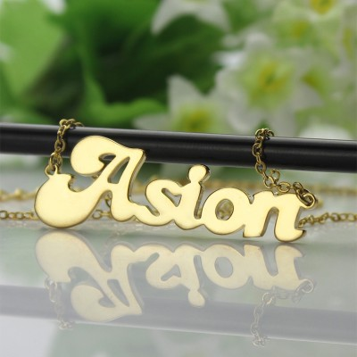 Personalised - 18CT Gold BANANA Font Style Name Necklace