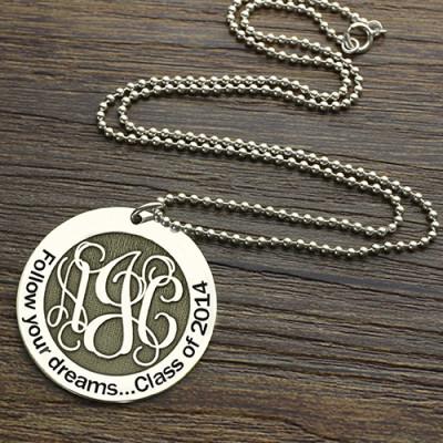 Solid White Gold Class Graduation Monogram Necklace