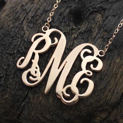 Custom 18CT Rose Gold Monogram Initial Necklace