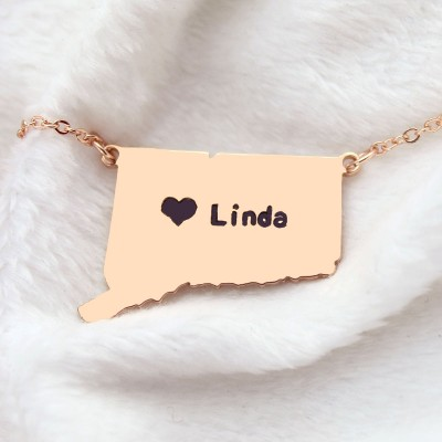 Connecticut Connecticut State Shaped Necklaces - Rose Gold