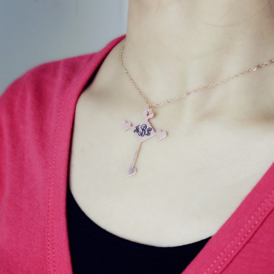 Custom 18CT Rose Gold Cross Monogram Necklace