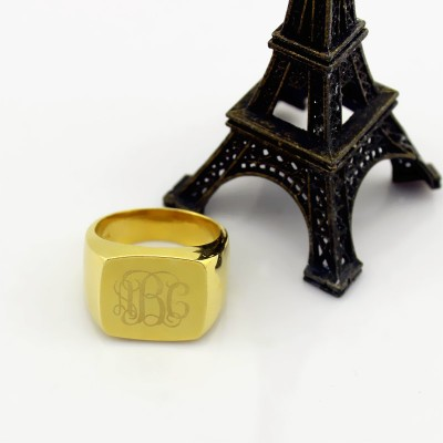 18CT Gold Fashion Monogram Initial Ring