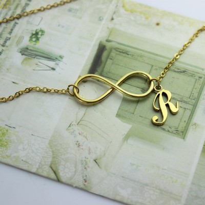 Infinity Knot Initial Necklace 18CT Gold