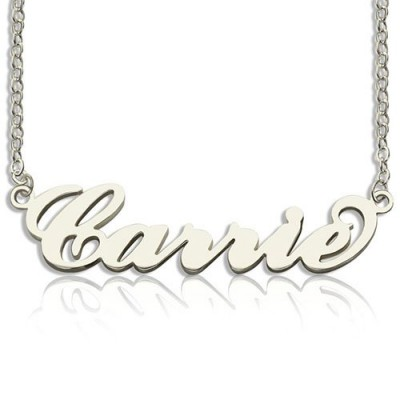 Solid White Gold Carrie Name Necklace