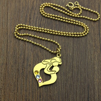 Mother Child Name Necklace with Birthstone Gold