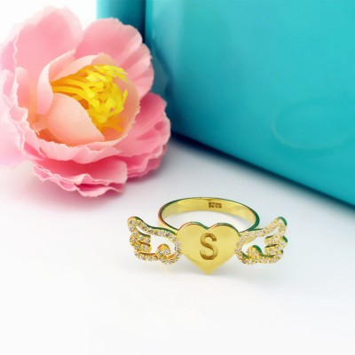 Angel Wings Heart Ring with Birthstone Initial - 18CT Gold