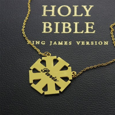 Customised Cross Name Necklace with Name 18CT Gold