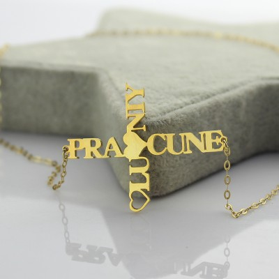 Two Name Cross Name Necklace Gold