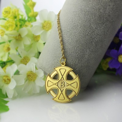 Engraved Celtic Cross Name Necklace 18CT Gold