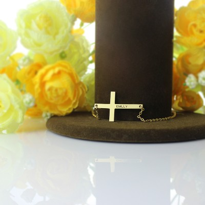 """Gold Latin Cross Necklace Engraved Name 1.6"""""""