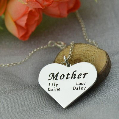 """Solid Gold """"Mother"""" Family Heart Necklace"""