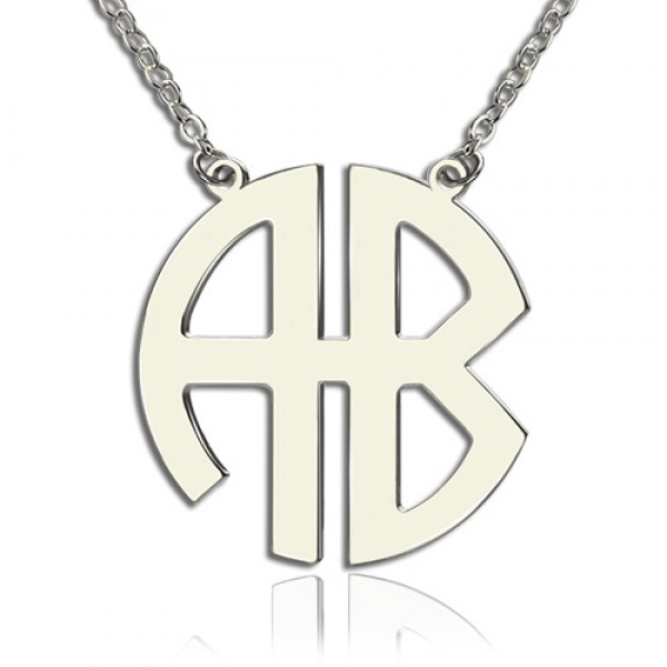 Two Initial Block Monogram Pendant Necklace Solid White Gold