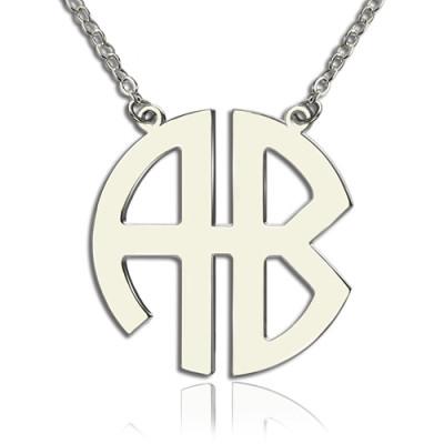 Solid Gold PersonailzedTwo Initial Block Monogram Pendant