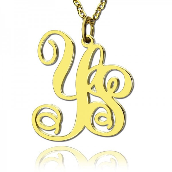 18CT Yellow Gold 2 Initial Monogram Necklace