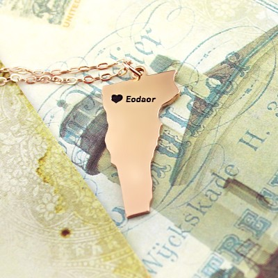 Custom Vermont State USA Map Necklace - Rose Gold