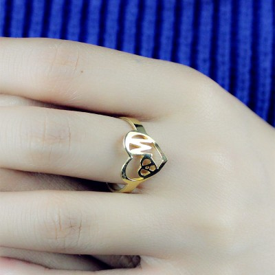 Personalised Heart in Heart Double Initial Ring - 18CT Gold
