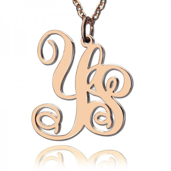 Personalised 18CT Rose Gold Vine Font 2 Initial Monogram Necklace