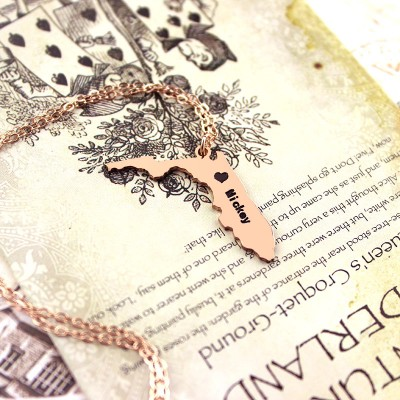Custom Florida State USA Map Necklace - Rose Gold