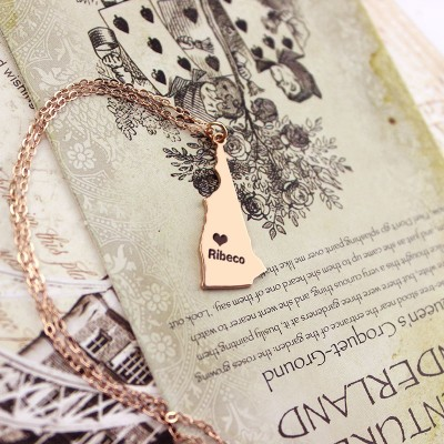 Custom New Hampshire State Shaped Necklaces - Rose Gold
