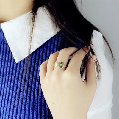 Custom Double Heart Ring Engraved Letter - 18CT Gold