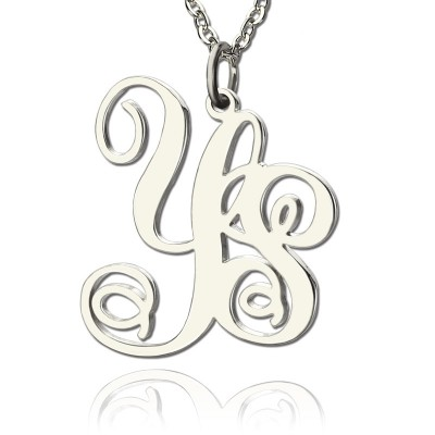 Personalised 18CT White Gold 2 Initial Monogram Necklace