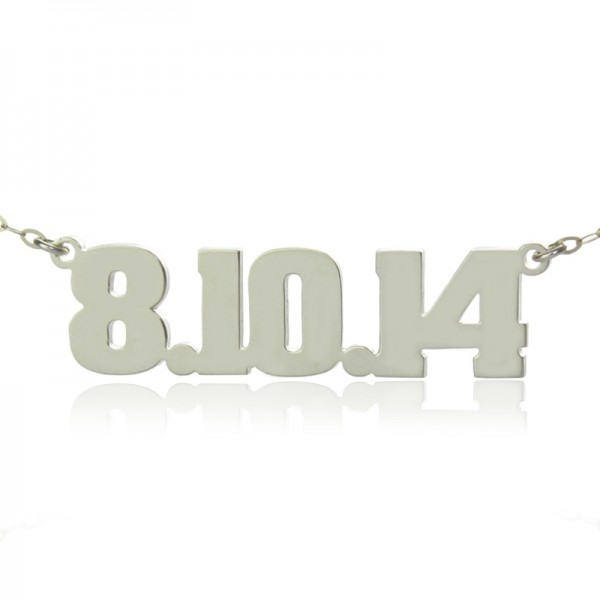 18CT White Gold Number Name Necklace Unique Men Jewellery