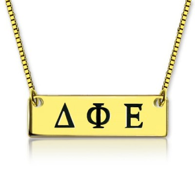 Personalised Greek Letter Sorority Bar Necklace - 18CT Gold