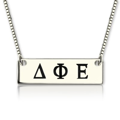 Solid White Gold Custom Alpha Gamma Delta Greek Letter Sorority Bar Necklace