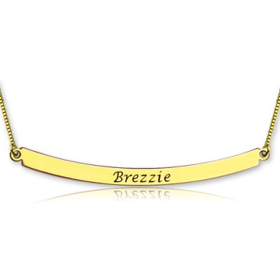 Personalised - 18CT Gold Curved Bar Necklace