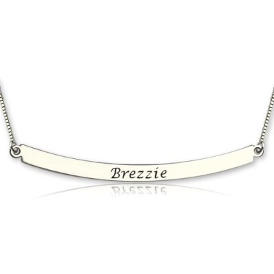 Solid White Gold Curved Bar Pendant Necklace