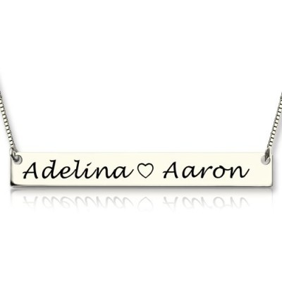 Solid White Gold Couple Bar Necklace Engraved Name