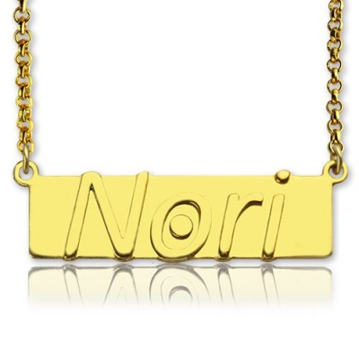 Custom Nameplate Bar Necklace - 18CT Gold