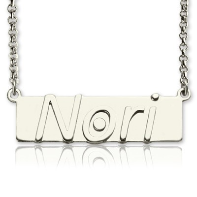Solid Gold Nameplate Bar Necklace