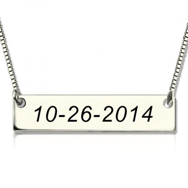 Personalised 18CT White Gold Date Bar Necklace