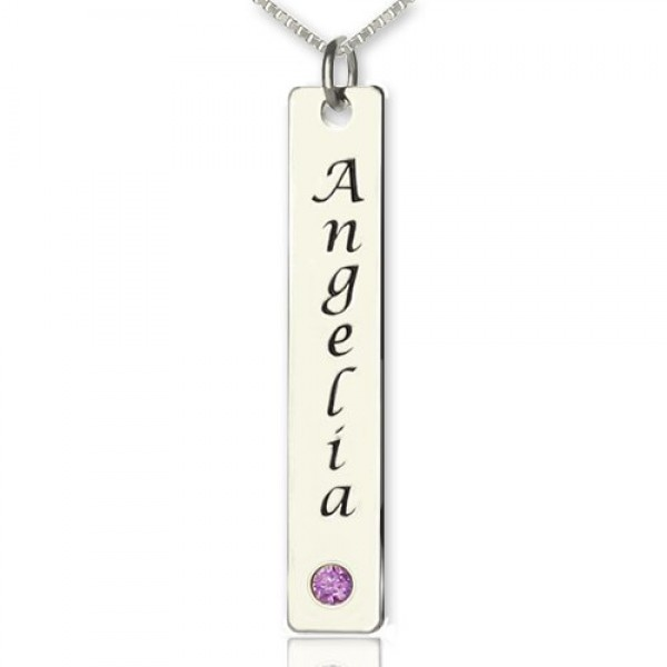 Solid Gold Vertical Bar Name Necklace Name Tag