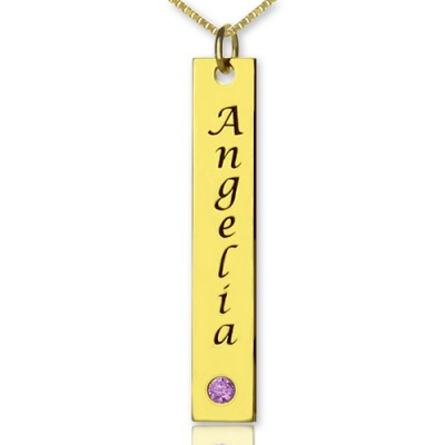 Personalised Name Tag Bar Necklace - 18CT Gold