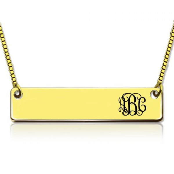 Personalised - 18CT Gold Initial Bar Necklace Monogram
