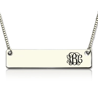 Solid Gold Engraved Monogram Initial Bar Necklace