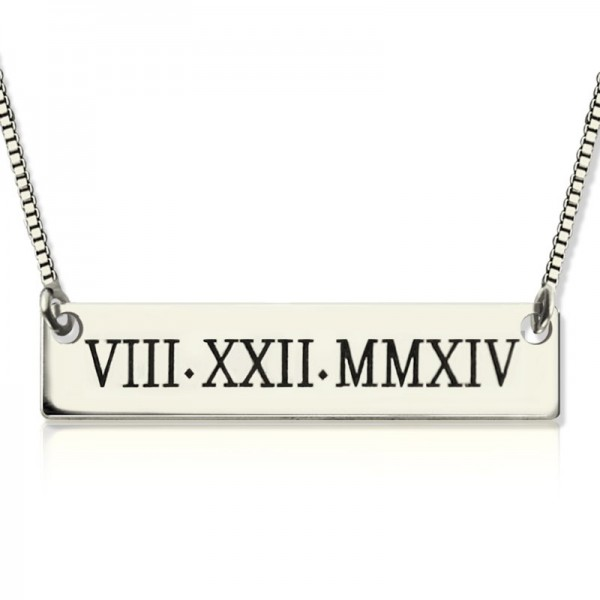 Solid Gold Custom Roman Numeral Bar Necklace