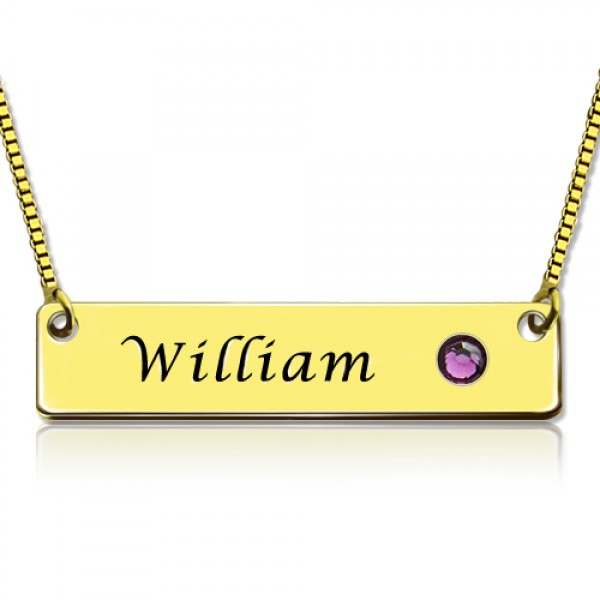 Name Bar Necklace with Birthstone - 18CT Gold