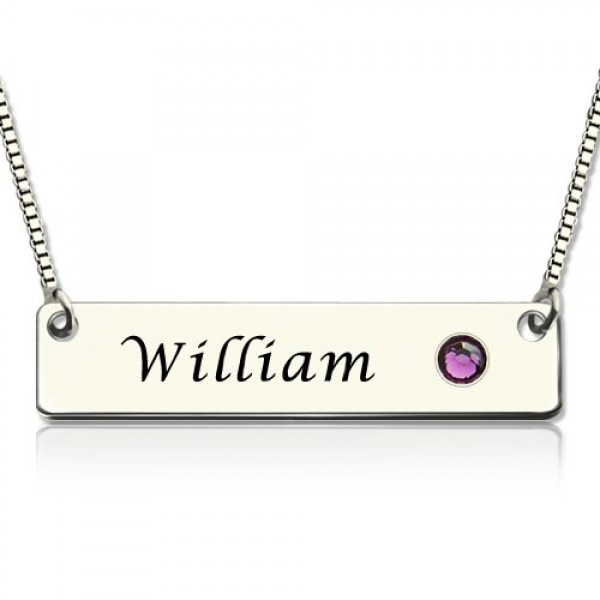 Solid Gold Nameplate Bar Name Necklace with Birthstone