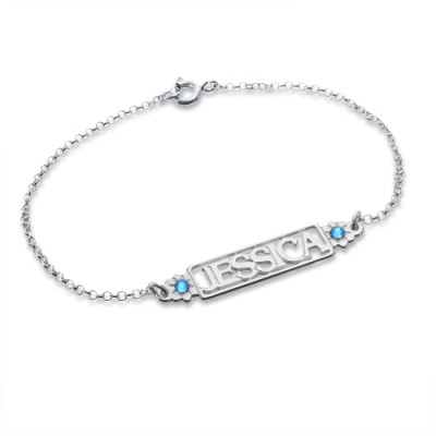 Solid White Gold Birthstone Name Bracelet/Anklet