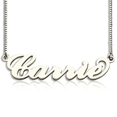 Solid White Gold Carrie Name Name Necklace - Box Chain