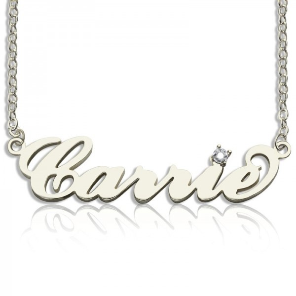 18CT White Gold Carrie Name Necklace With Birthstone