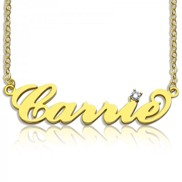 Carrie Nameplate Necklace with Birthstone - 18CT Gold