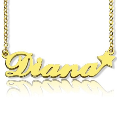 "Solid Gold Custom Your Own Name Necklace ""Carrie"""