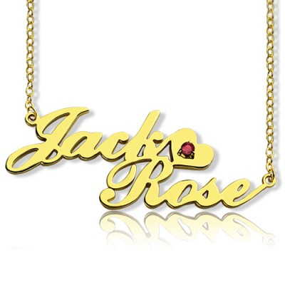 Gold Double Nameplate Necklace Carrie Style