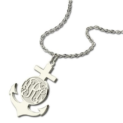 18CT White Gold Anchor Monogram Initial Necklace