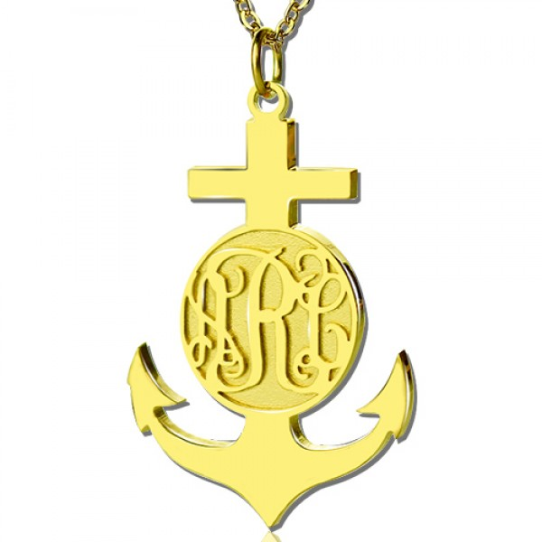 18CT Yellow Gold Anchor Monogram Initial Necklace