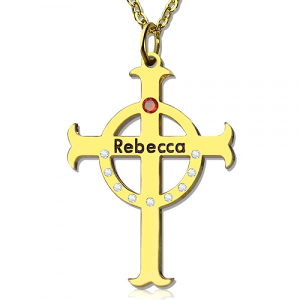 Circle Cross Name Necklace s with Birthstone Name 18CT Gold